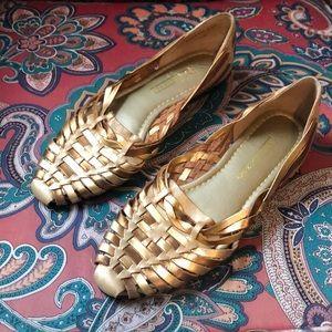 Vintage Gold Huarache Sandal